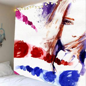 Home Decor Oil Painting Girl Wall Art Tapestry - Colorful - W79 Inch * L71 Inch