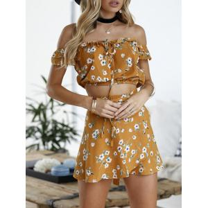 Off The Shoulder Floral Two Piece Dress - GINGER XL