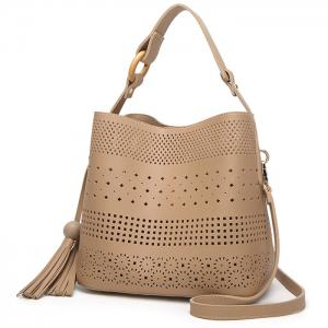 Tassel Cut Out Tote Bag - APRICOT