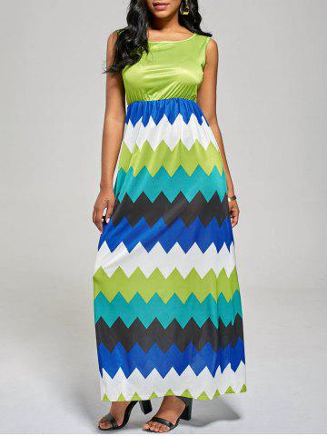 Discount Sleeveless Color Block Long Zig Zag Dress MINT S