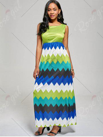 Shop Sleeveless Color Block Long Zig Zag Dress - M MINT Mobile