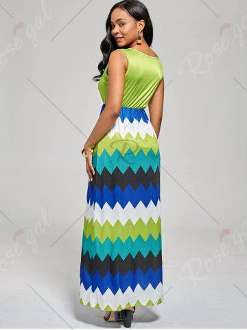 Online Sleeveless Color Block Long Zig Zag Dress - M MINT Mobile