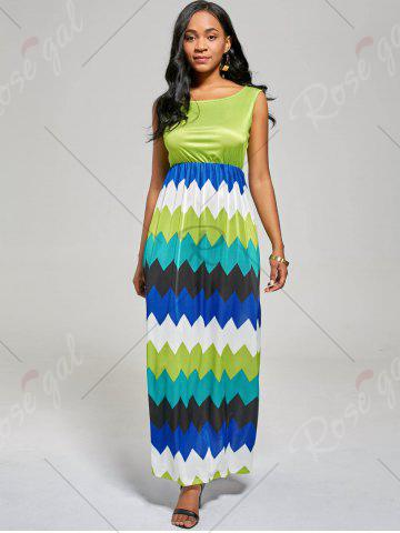 Sale Sleeveless Color Block Long Zig Zag Dress - M MINT Mobile