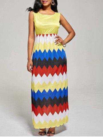 Trendy Sleeveless Color Block Long Zig Zag Dress YELLOW XL