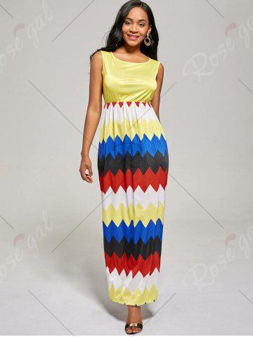 Outfits Sleeveless Color Block Long Zig Zag Dress - L YELLOW Mobile