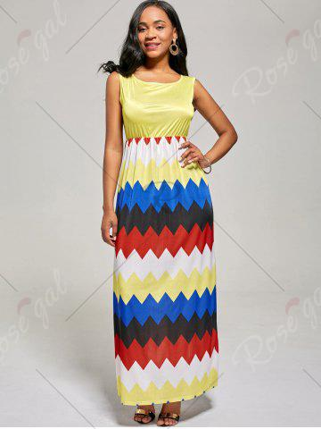 Latest Sleeveless Color Block Long Zig Zag Dress - L YELLOW Mobile