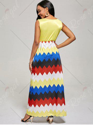 Fancy Sleeveless Color Block Long Zig Zag Dress - L YELLOW Mobile
