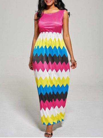 Outfits Sleeveless Color Block Long Zig Zag Dress ROSE MADDER XL