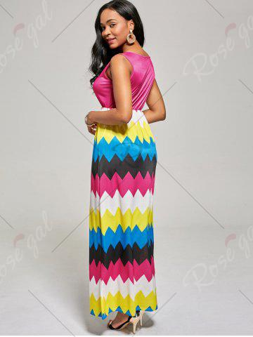 Outfit Sleeveless Color Block Long Zig Zag Dress - S ROSE MADDER Mobile