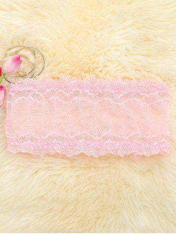 Affordable Scalloped Mesh Lace Tube Top PINK M