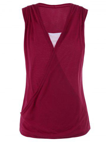 Buy Casual Two Tone Surplice Sleeveless Top WINE RED XL