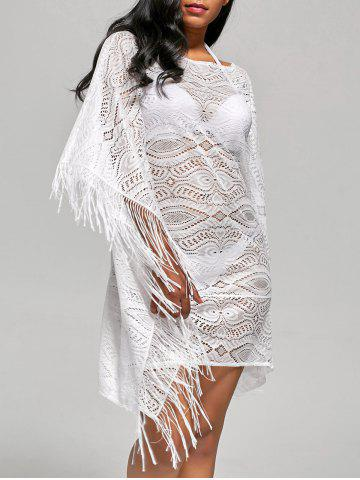 Unique Batwing Sleeve Fringed Cover Up Dress WHITE S