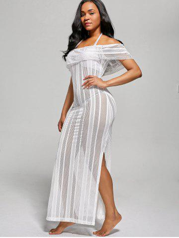 Best Off The Shoulder Maxi Cover Up Dress - XL WHITE Mobile