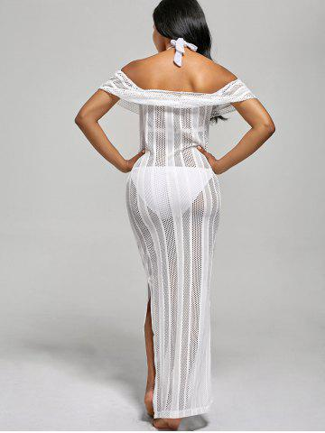 Cheap Off The Shoulder Maxi Cover Up Dress - XL WHITE Mobile