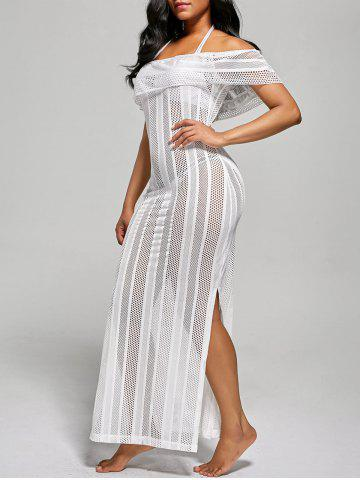 Hot Off The Shoulder Maxi Cover Up Dress WHITE L