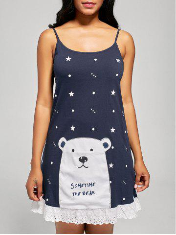 Bear Print Cotton Slip Sleep Dress - Cerulean - 2xl