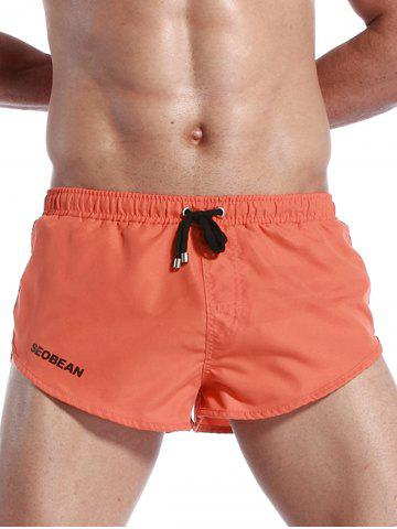 Affordable Graphic Print Drawstring Pocket Sport Shorts - S ORANGE Mobile