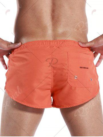 Cheap Graphic Print Drawstring Pocket Sport Shorts - S ORANGE Mobile