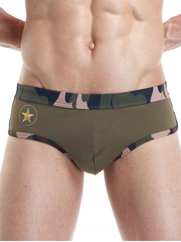 Chic Camouflage Panel Star Embroidered Swimming Briefs ARMY GREEN S
