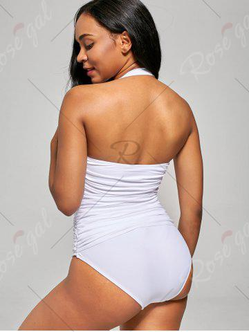 Buy Shirred Halter One-Piece Swimsuit - S WHITE Mobile