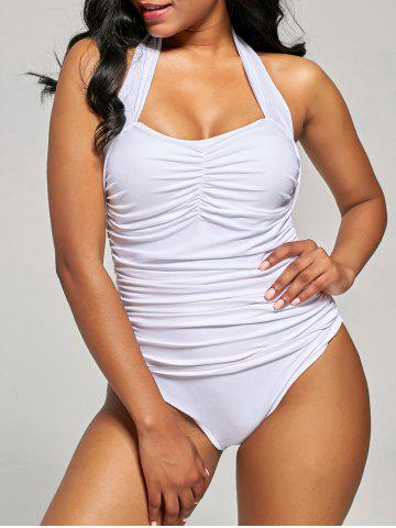 Outfits Shirred Halter One-Piece Swimsuit - S WHITE Mobile