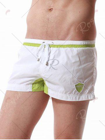 Discount Graphic Embroidered Drawstring Panel Sport Shorts - L WHITE Mobile