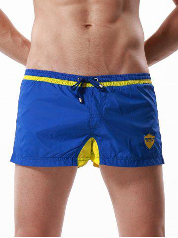 Graphic Embroidered Drawstring Panel Sport Shorts - Blue - L
