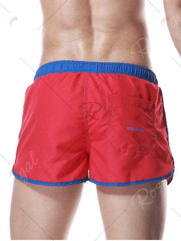 Latest Color Block Panel Drawstring Graphic Sport Shorts - L RED Mobile