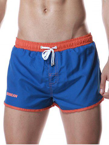 Best Color Block Panel Drawstring Graphic Sport Shorts BLUE XL