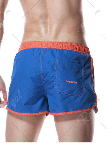 Chic Color Block Panel Drawstring Graphic Sport Shorts - XL BLUE Mobile
