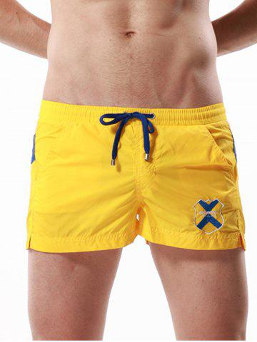 Discount Drawstring Color Block Panel Badge Embroidered Shorts - YELLOW XL Mobile