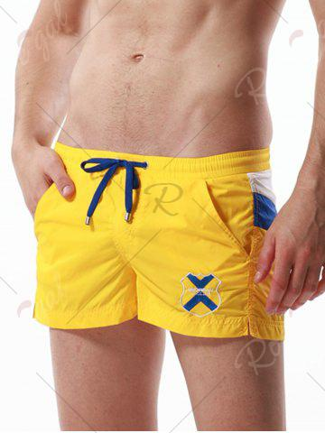 Unique Drawstring Color Block Panel Badge Embroidered Shorts - YELLOW XL Mobile