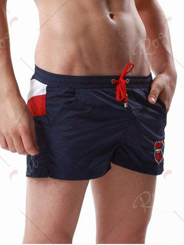 Outfit Drawstring Color Block Panel Badge Embroidered Shorts - CERULEAN L Mobile