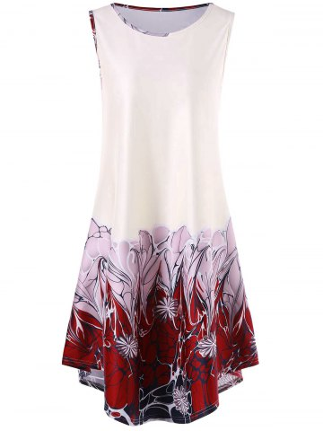Chic Sleeveless Asymmetrical Floral Print Dress WHITE 2XL