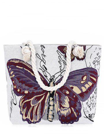 New Butterfly Printed Canvas Shoulder Bag PURPLE