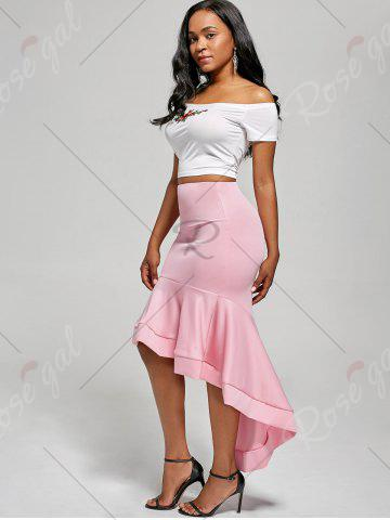 Online Ruffle Trim High Low Skirt - S PINK Mobile