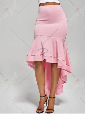 Unique Ruffle Trim High Low Skirt - S PINK Mobile