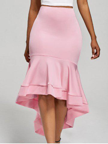 Shop Ruffle Trim High Low Skirt - S PINK Mobile