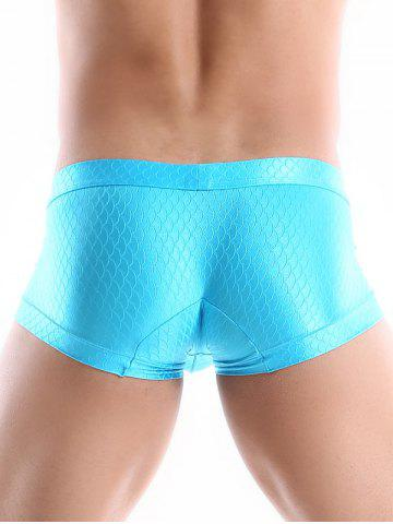 Fashion Mid Waist Fish Scale Trunks - XL BLUE Mobile