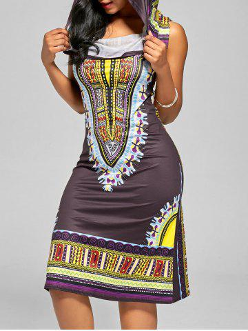 Outfit Hooded African Style Midi Dress DEEP PURPLE S
