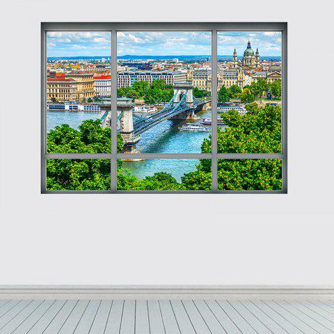 Buy Removable 3D Window City View Wall Art Sticker - 48.5*68CM COLORMIX Mobile