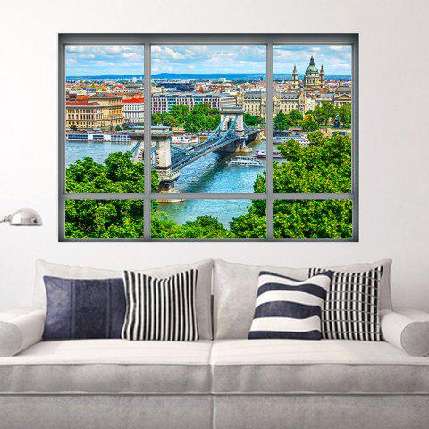 New Removable 3D Window City View Wall Art Sticker - 48.5*68CM COLORMIX Mobile