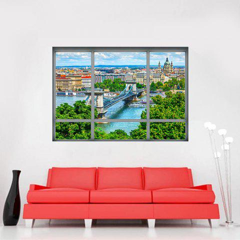 Best Removable 3D Window City View Wall Art Sticker - 48.5*68CM COLORMIX Mobile