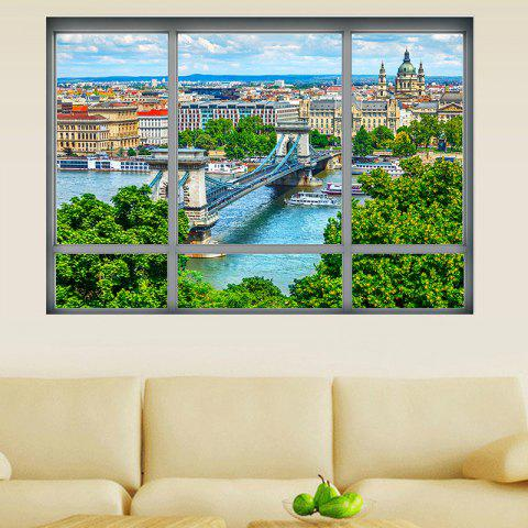 Trendy Removable 3D Window City View Wall Art Sticker - 48.5*68CM COLORMIX Mobile
