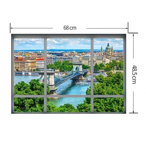 Shops Removable 3D Window City View Wall Art Sticker - 48.5*68CM COLORMIX Mobile