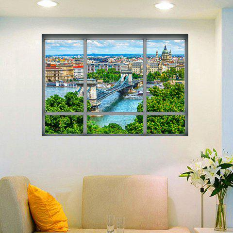 Hot Removable 3D Window City View Wall Art Sticker - 48.5*68CM COLORMIX Mobile