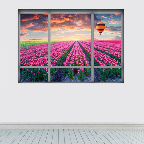 Shops 3D Window Tulip Scenic Wall Sticker For Living Room - 48.5*68CM COLORMIX Mobile
