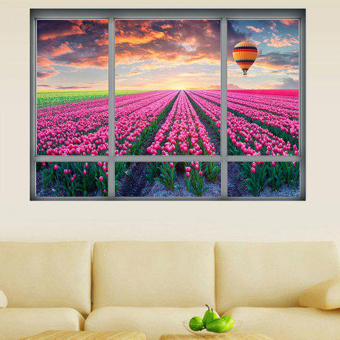 Best 3D Window Tulip Scenic Wall Sticker For Living Room - 48.5*68CM COLORMIX Mobile