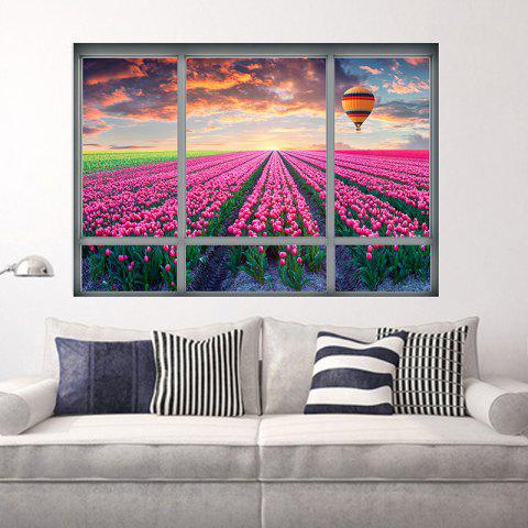 Hot 3D Window Tulip Scenic Wall Sticker For Living Room - 48.5*68CM COLORMIX Mobile