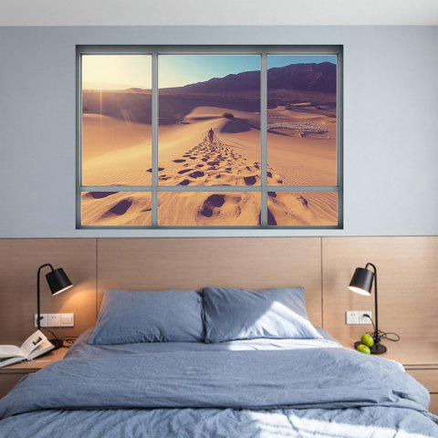 Store Removable Vinyl Desert Landscape 3D Wall Sticker - 48.5*68CM BROWN Mobile